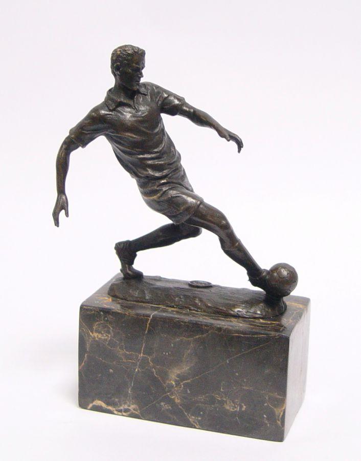 Bronze soccer player figurine