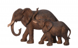 A RESIN GROUP OF AN ELEPHANT WITH CALF