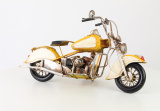 Sheet metal model of a yellow motorcycle