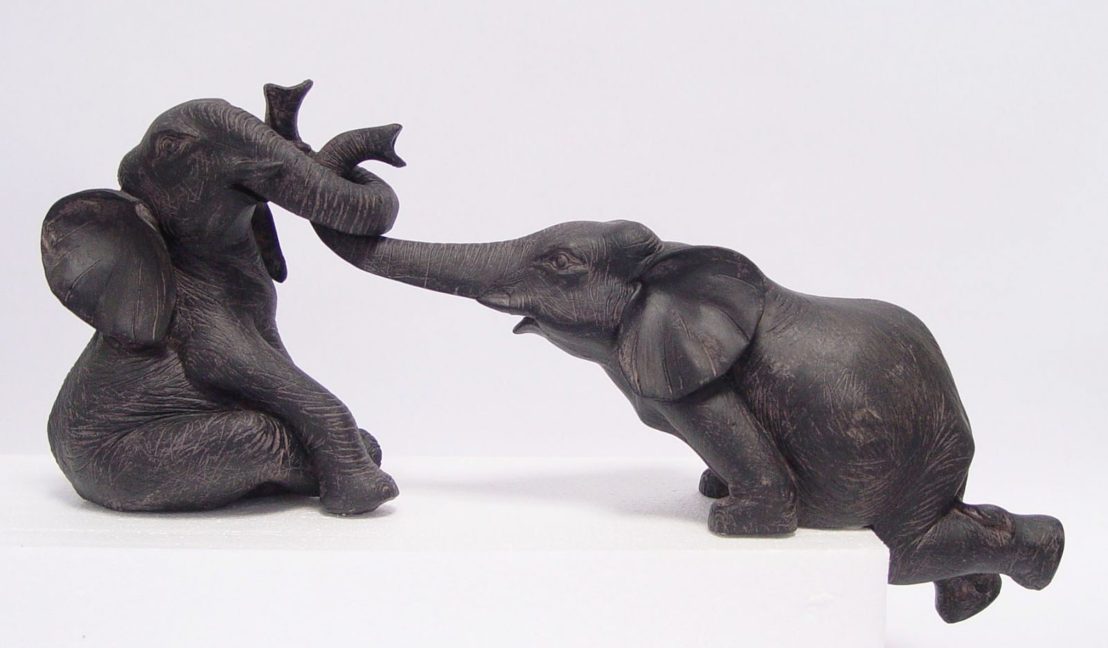 Polyresin statuettes of two elephants