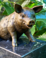A BRONZE SCULPTURE OF A SITTING PIG