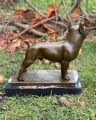 Sculpture of a french bulldog made of bronze