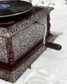 Square retro silver horn gramophone - replica