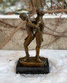 Erotic bronze figurine of two naked men