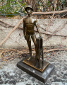 Erotic bronze figurine of a naked man with hat