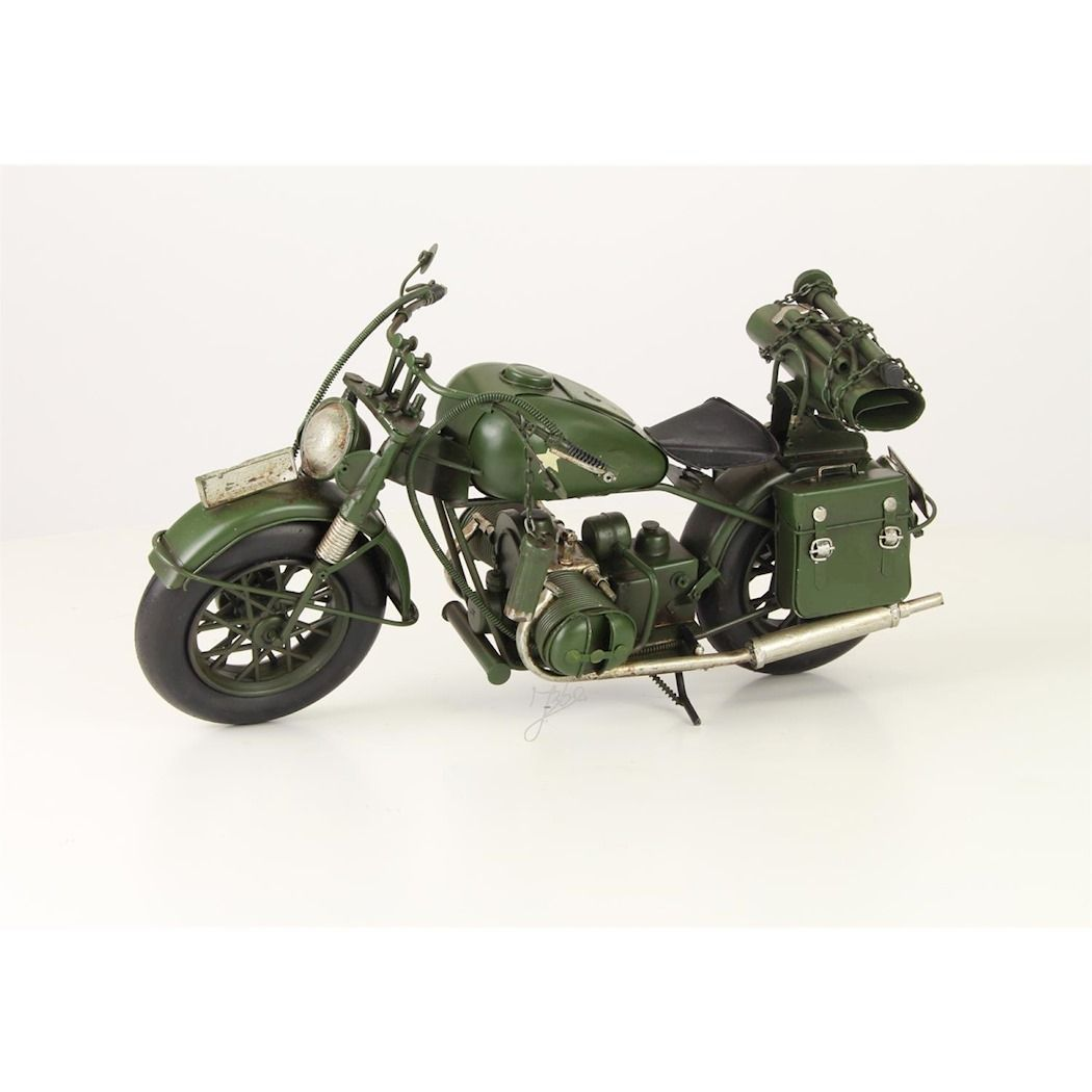 Metal model of a military motorcycle