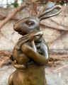 Statue of a rabbit with a cub made of bronze
