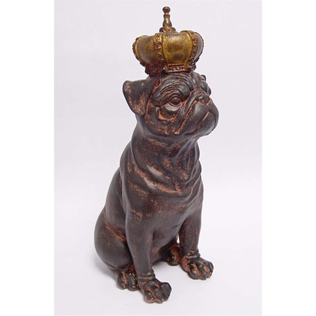 A large statue of a bulldog made of resin