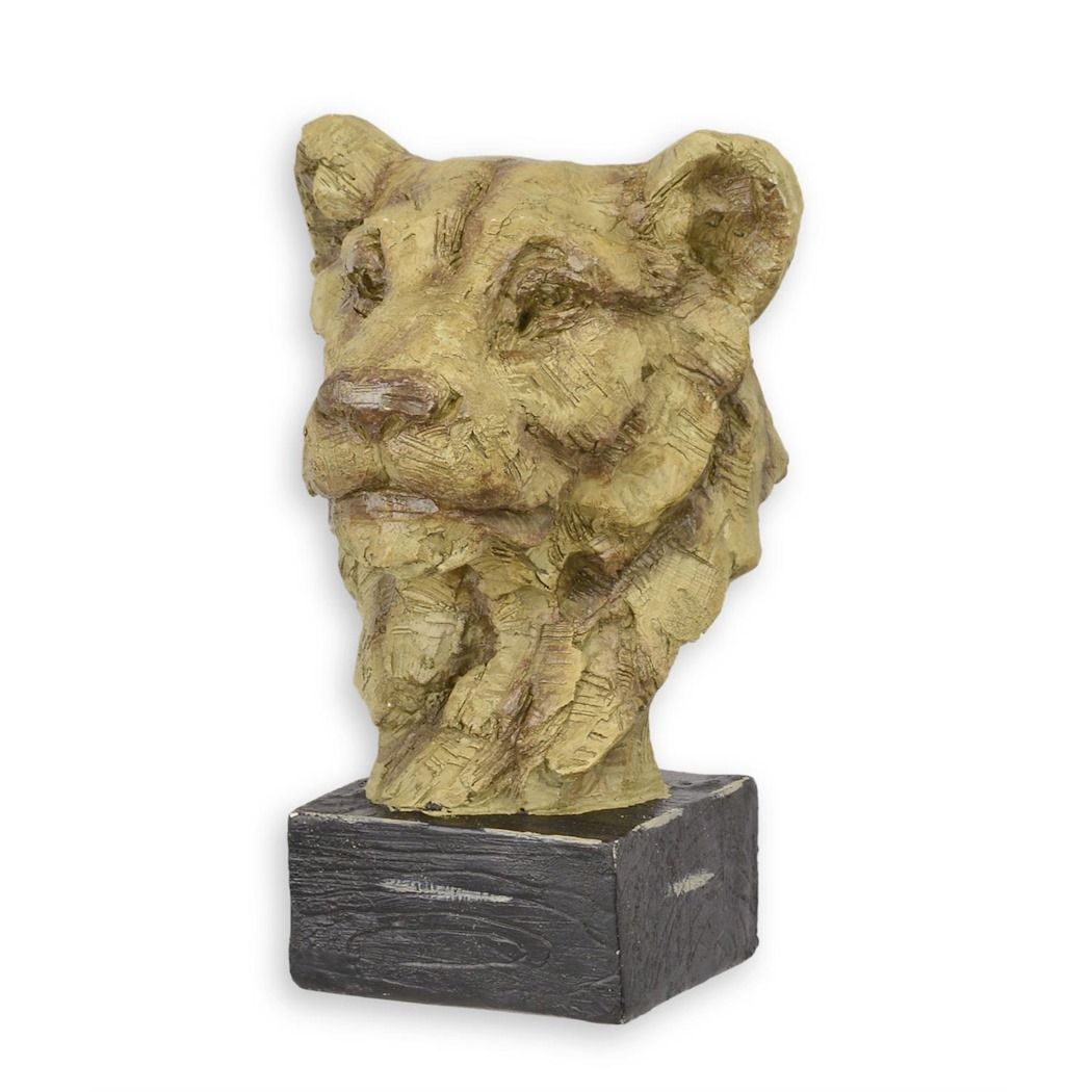 Large statue of a lioness head made of MGO