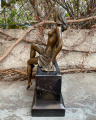 Erotic bronze statue of a half-naked girl