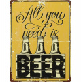 Metal hanging sign - All you need is beer