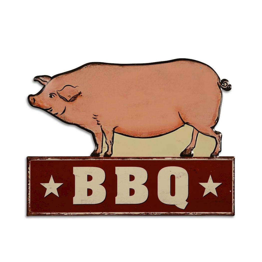 Embossed metal sign - BBQ - Pig