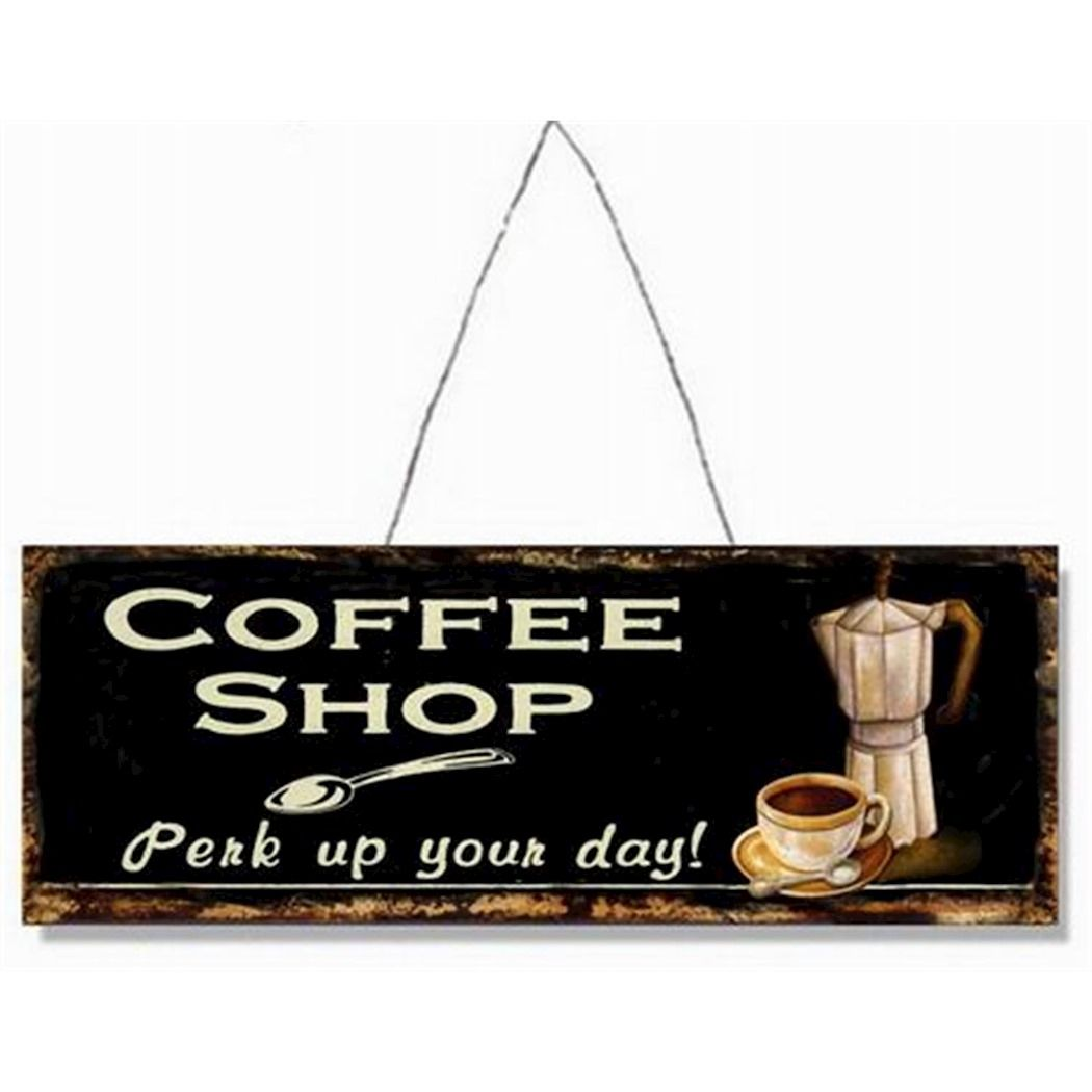 Metal hanging sign - Coffee shop - Perk your day