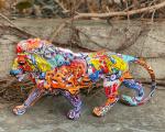 Polyresin statuette of a graphic Lion Graffiti
