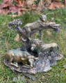 Polyresin statuette of a lion, panther, buffalo