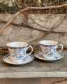 Set of porcelain cups with saucers - gzhel