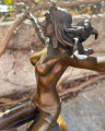 Bronze figurine - Nude girl and Earth