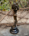 Bronze statue Naked woman with a scarf erotic statue 2