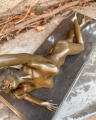 Erotic bronze statuette of a lying naked woman 3