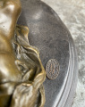Erotic bronze statuette of a lying naked girl