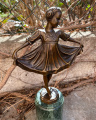 Statue of a cute girl in dress made of bronze 2