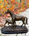 Bronze horse with foal sculpture